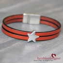 "ARMBAND* ""STAR"" LEDER in orange mit STERN"